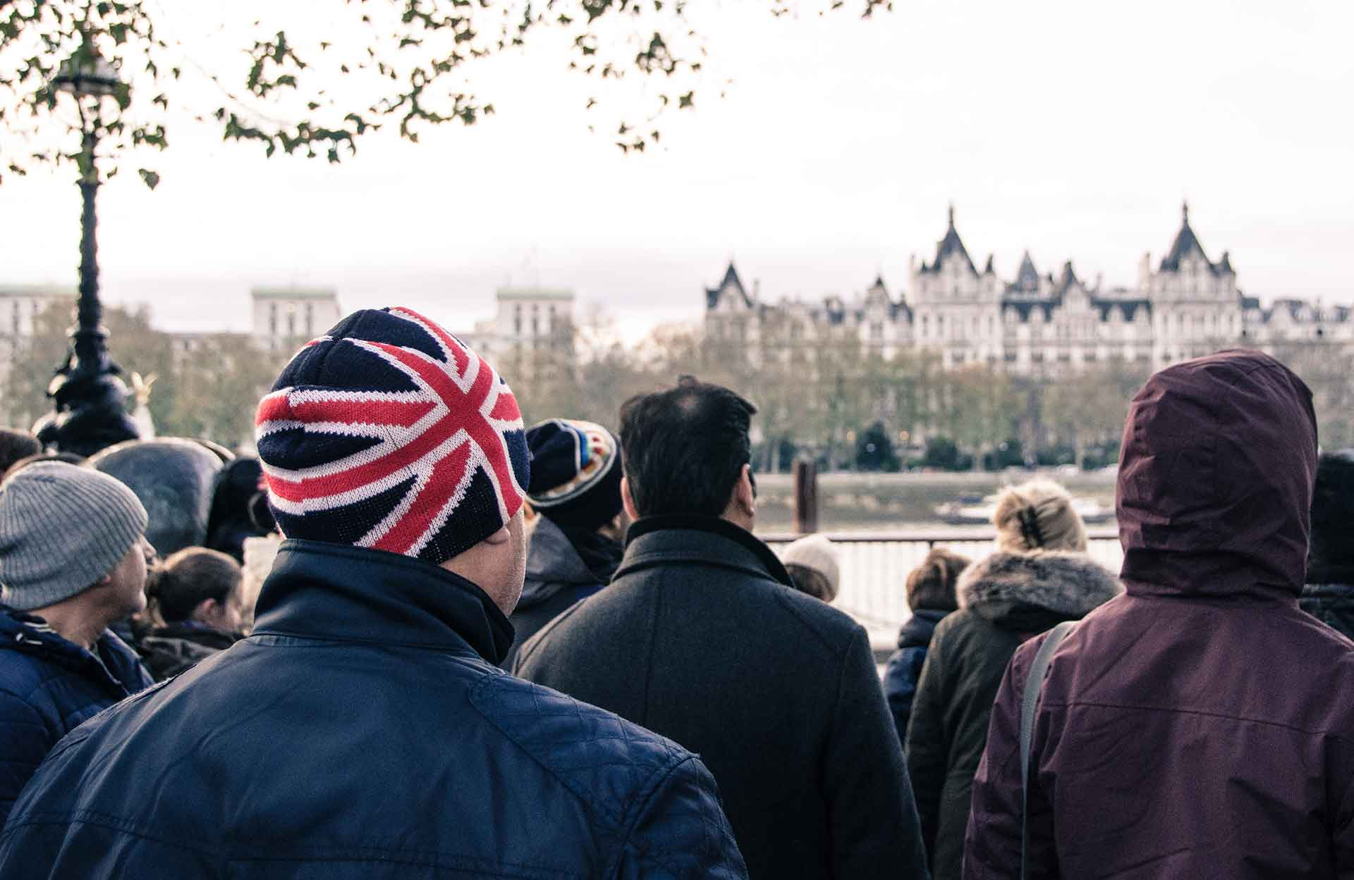 Man in a Union Jack hat