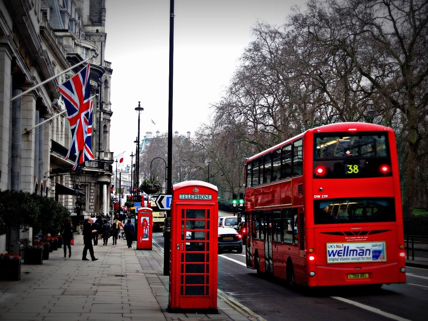 UK picture with red bus, telephone box and post box